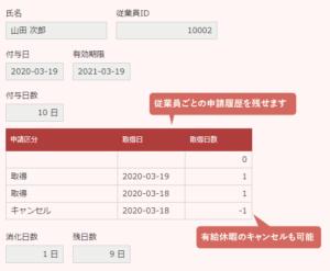 適用イメージ(有給休暇管理アプリ_詳細画面)